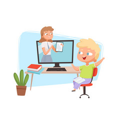 Online education concept boy and teacher on vector