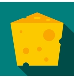 Piece of cheese icon flat style vector image
