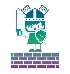 pixel character knight with brick wall game vector image