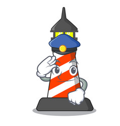 Police lighthouse character cartoon style vector