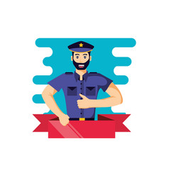 Police officer with ribbon avatar character vector
