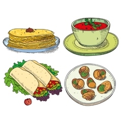 Popular world famous food international restaurant vector