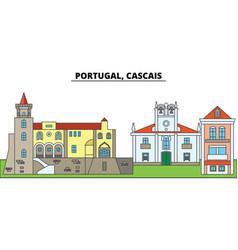 portugal cascais city skyline architecture vector image