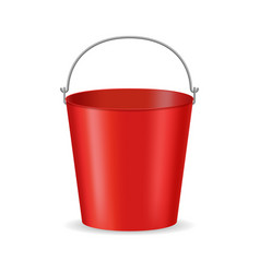 realistic detailed 3d red bucket and handle vector image