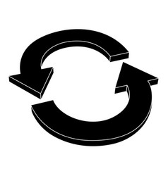 refresh icon black silhouette arrows vector image