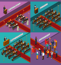 Religion and people isometric design concept vector