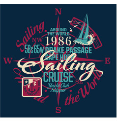 sailing around the world yacht club vector image