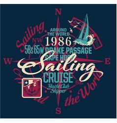 Sailing around the world yacht club vector