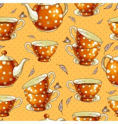 seamless background with cups tea and pots vector image