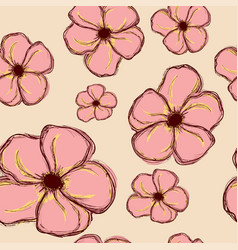 seamless pattern with big pink hand flowers vector image