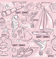 Seamless patterns with summer symbols boat sea vector