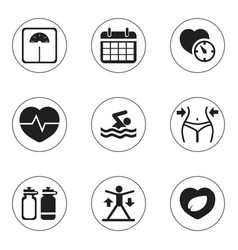Set 9 editable fitness icons includes symbols vector