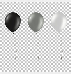 Set of black and silver helium balloons isolated vector