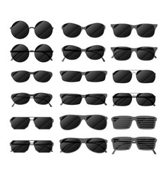 set of black glossy sunglasses in different style vector image