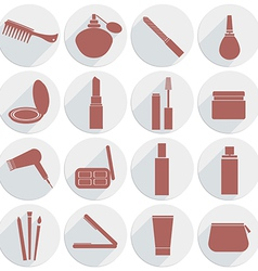set of icons cosmetics in flat style vector image