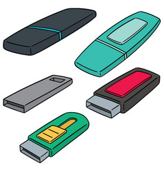 set of usb flash drive vector image