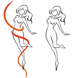 Slenderness Slender woman and red ribbon vector