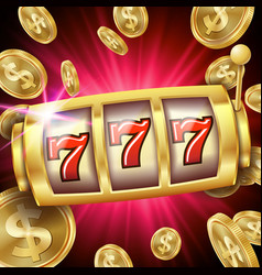slot machine banner casino luck word big vector image