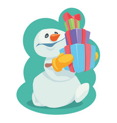 Snowman with gifts in yellow mittens cartoon vect vector