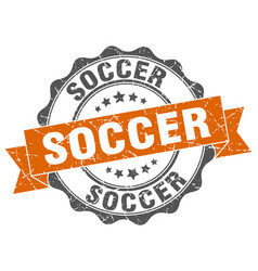 soccer stamp sign seal vector image