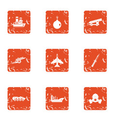 Technical war icons set grunge style vector