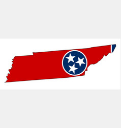 Tennessee state outline map and flag vector