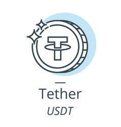 tether cryptocurrency coin line icon of virtual vector image