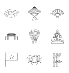 Tourism in Vietnam icons set outline style vector