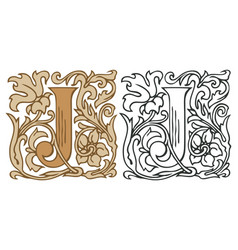 Vintage initial letter j with baroque decoration vector