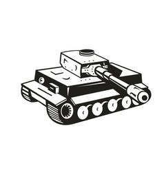 World war two german panzer tank retro black vector