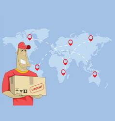 young cartoon delivery courier vector image vector image