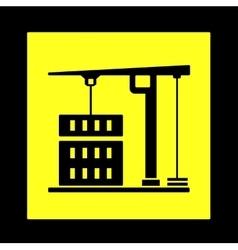 construction crane yellow icon vector image vector image