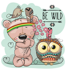 cute cartoon tribal teddy bear and owl vector image