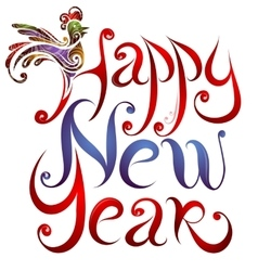 Happy New Year greetings lettering with Rooster vector image vector image