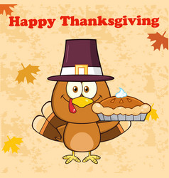 happy thanksgiving greeting with cute pilgrim vector image