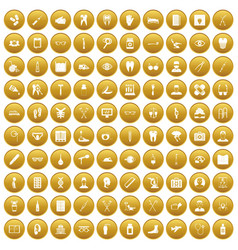 100 medical treatmet icons set gold vector image vector image