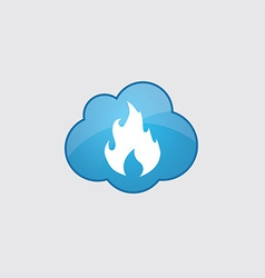 Blue cloud fire icon vector image vector image