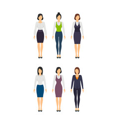 cartoon business woman set staff dress style vector image vector image