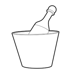 Champagne in bucket icon outline style vector image