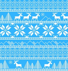 Traditional christmas knitted ornamental pattern vector image