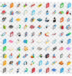 100 e-learning icons set isometric 3d style vector
