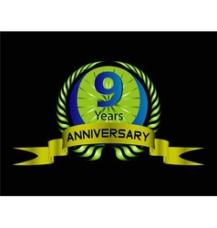 Celebrating 9 Years Anniversary Green Laurel vector image