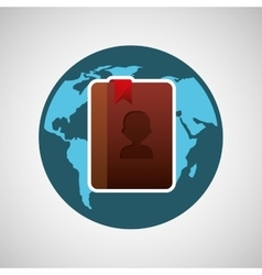 concept globe contact social media vector image