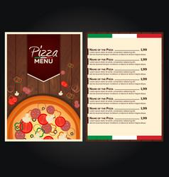 restaurant cafe menu italian pizza menu pizza vector image