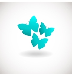 Three butterfly logo Blue colors logotype vector image
