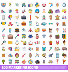 100 marketing icons set cartoon style vector