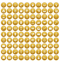 100 partnership icons set gold vector