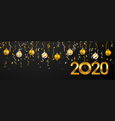 2020 new year greeting card christmas ball with vector image