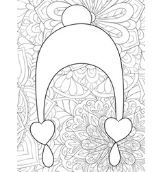 adult coloring bookpage a cute christmas cap on vector image