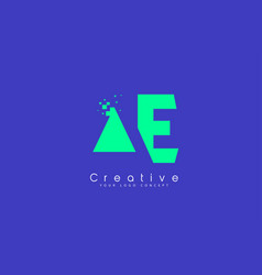 ae letter logo design with negative space concept vector image